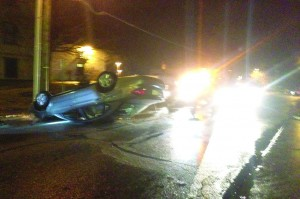 Drunk driver careens down Beall, flips car